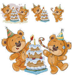 two brown teddy bears in vector image vector image