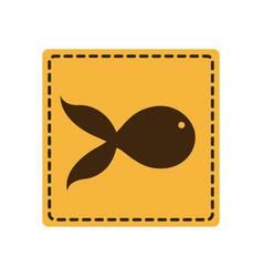 Yellow emblem fish icon vector