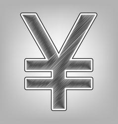 Yen sign pencil sketch imitation dark vector