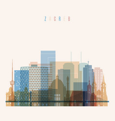 zagreb skyline detailed silhouette vector image