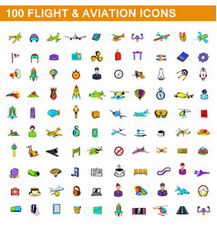 100 flight and aviation icons set cartoon style vector
