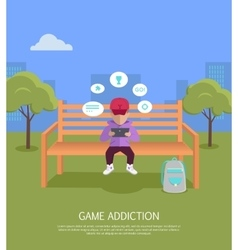 Game addiction banner vector