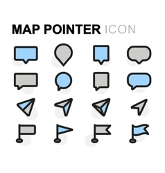 Flat map pointer icons set vector