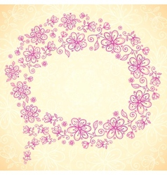 Pink doodle vintage flowers speech bubble vector image