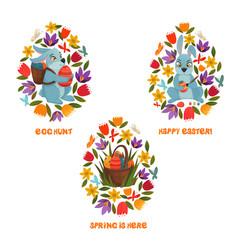 Easter egg hunt spring flowers composition vector