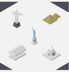 Isometric architecture set of egypt india mosque vector