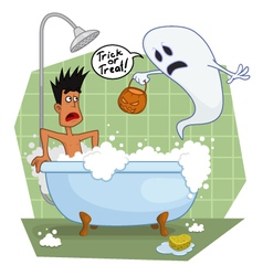 Ghost in the bathroom vector