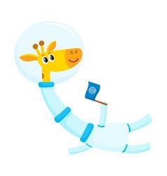 Cute little giraffe animal astronaut spaceman vector