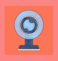 flat shading style icon computer webcam vector image