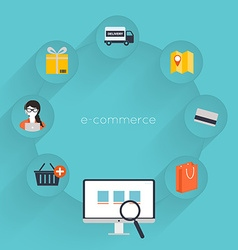 Buying online and e-commerce poster concept with vector