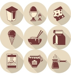 Lunch brown flat style icons set vector