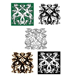 Celtic wolfs tied into knot ornament vector image
