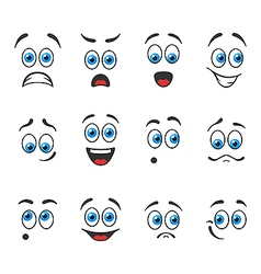 Emotions with blue eyes vector
