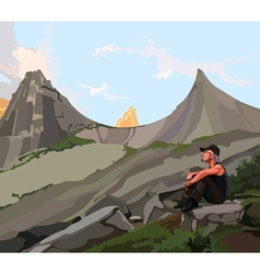 Male traveler sits on a rock in the mountains vector
