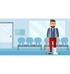 Patient with broken leg vector