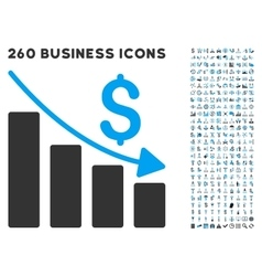 Recession icon with flat set vector