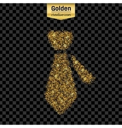 Gold glitter icon of necktie isolated on vector