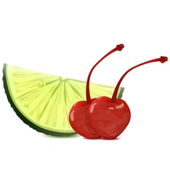 lime and cherry vector image