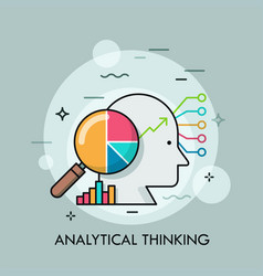 Analytical thinking thin line concept vector