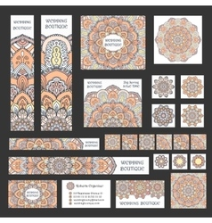 Banners business cards boho flower vector