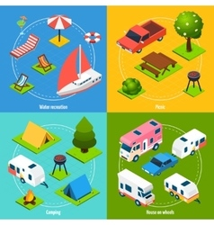 Camping And Travel Isometric 2x2 Icons Set vector image vector image