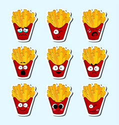 Cartoon fries cute character face sticker vector