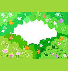 Cartoon spring background with insects vector