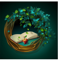 cartoon wreath with book and vector image