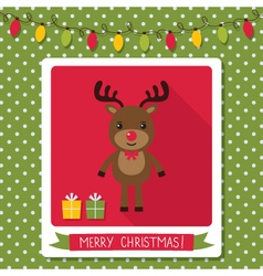 Christmas card with a cute deer vector image vector image