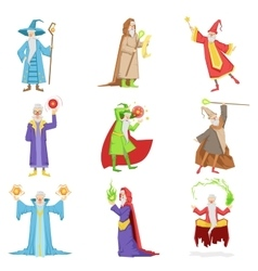 Classic fantasy wizards set of characters vector