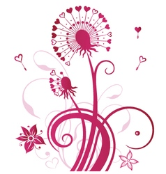 Dandelion with hearts vector image vector image