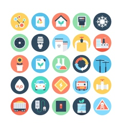 Energy and power colored icons 4 vector