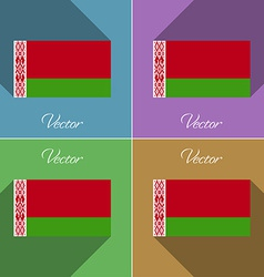 Flags Belarus Set of colors flat design and long vector image