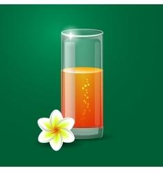 Fresh orange juice with plumeria flowers vector image