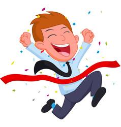 happy businessman cartoon running at the finish li vector image