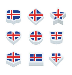 Iceland flags icons and button set nine styles vector