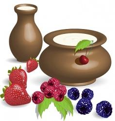 milk and berries vector image