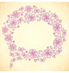 Pink doodle vintage flowers speech bubble vector image vector image