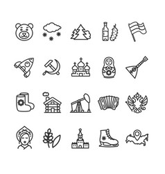 russia travel and tourism black thin line icon set vector image vector image
