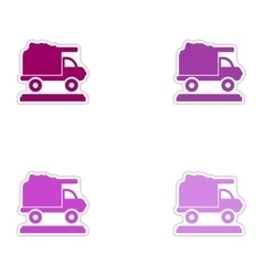 Set of paper stickers on white background garbage vector