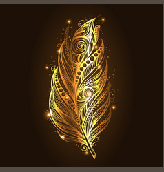 Shiny gold feather over dark background vector