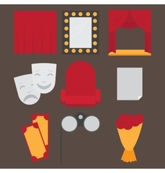 Theatre acting performance icons set with ticket vector