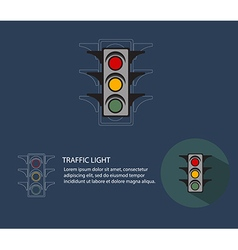 traffic lightabstract traffic light flat style vector image