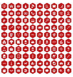 100 cat icons hexagon red vector