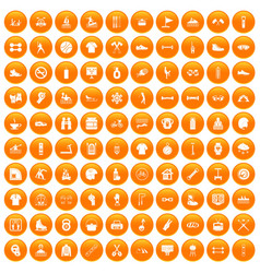100 sport life icons set orange vector
