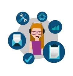 Girl with glasses support operator assistance vector