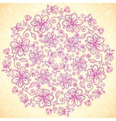 Pink doodle vintage flowers circle background vector image