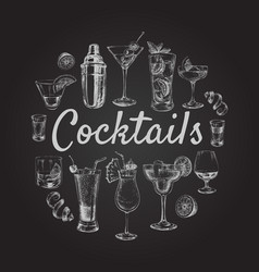 set sketch cocktails and alcohol drinks hand drawn vector image