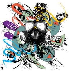 Grunge floral gas mask vector
