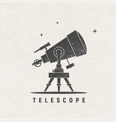 Telescope silhouette printed on textured vector